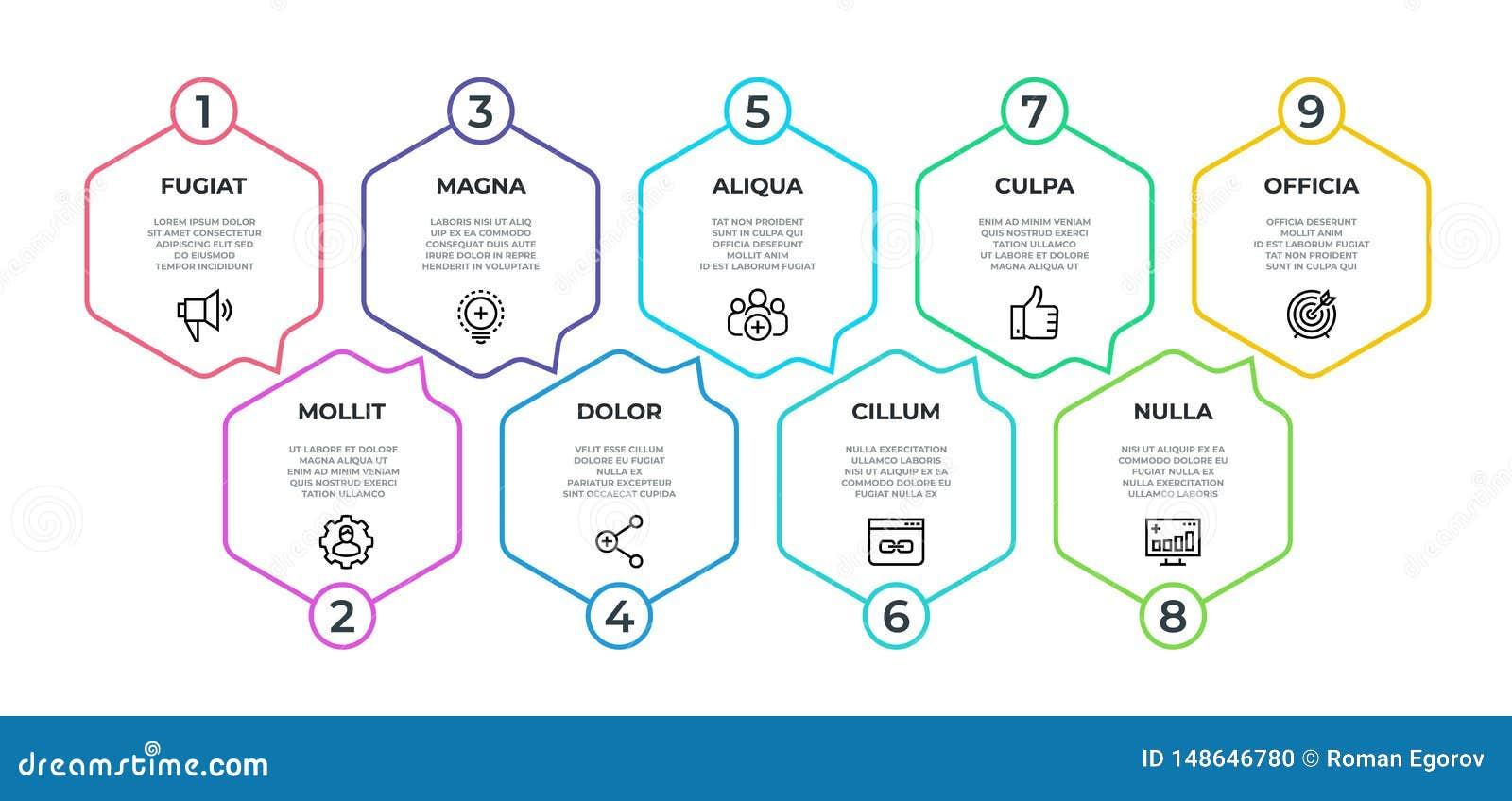 Infographic的工作流 9步流程图表,时间安排最低纲领派六角形横幅,企业介绍图表 传染媒介9