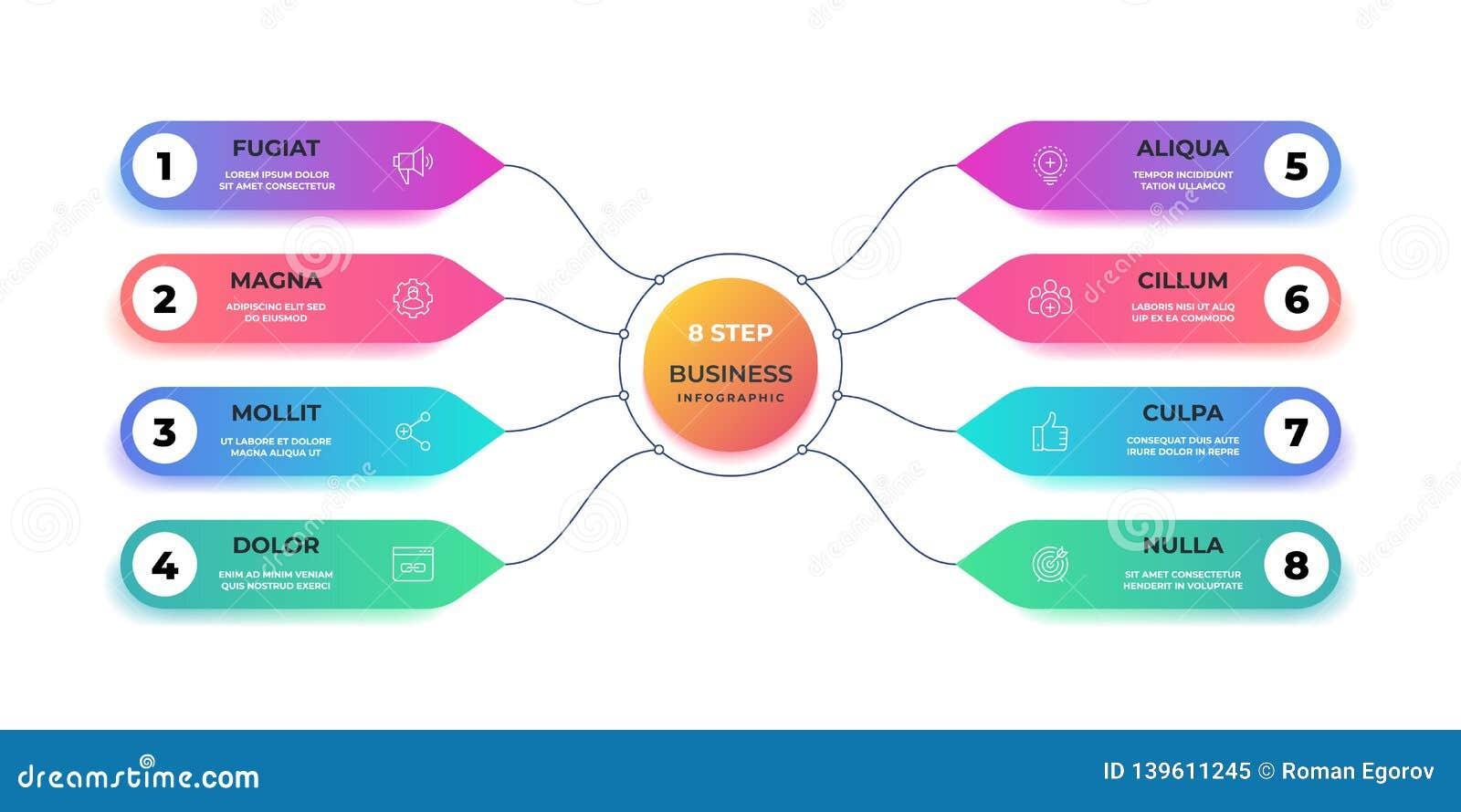 Infographic的步3D 现实圈子图表图,圆的企业图表布局,步介绍 传染媒介工作流