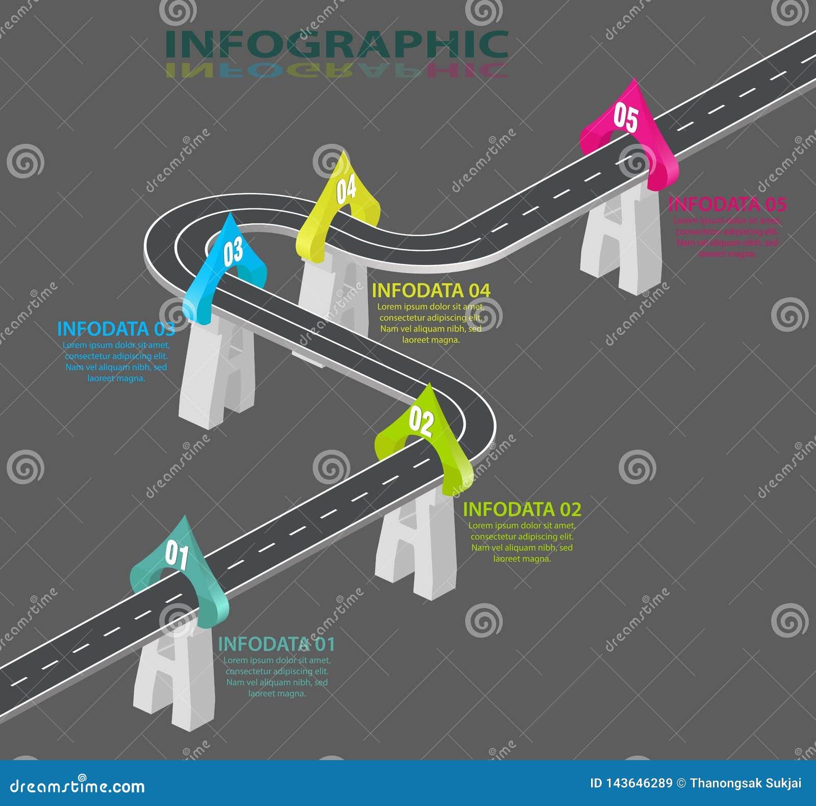 Infographic的路 信息图表模板 绞的高速公路时间安排 5步、战略或者商业运作