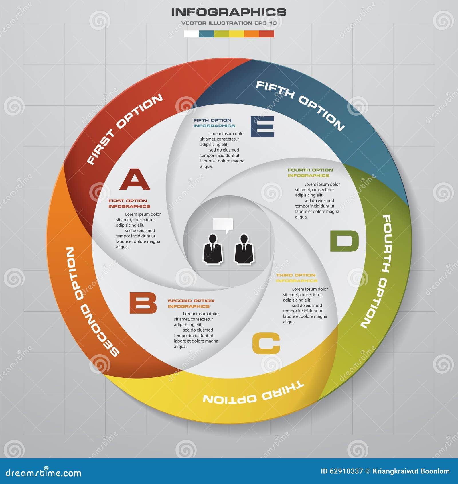 Infographic的5个步传染媒介圈子箭头 图的模板