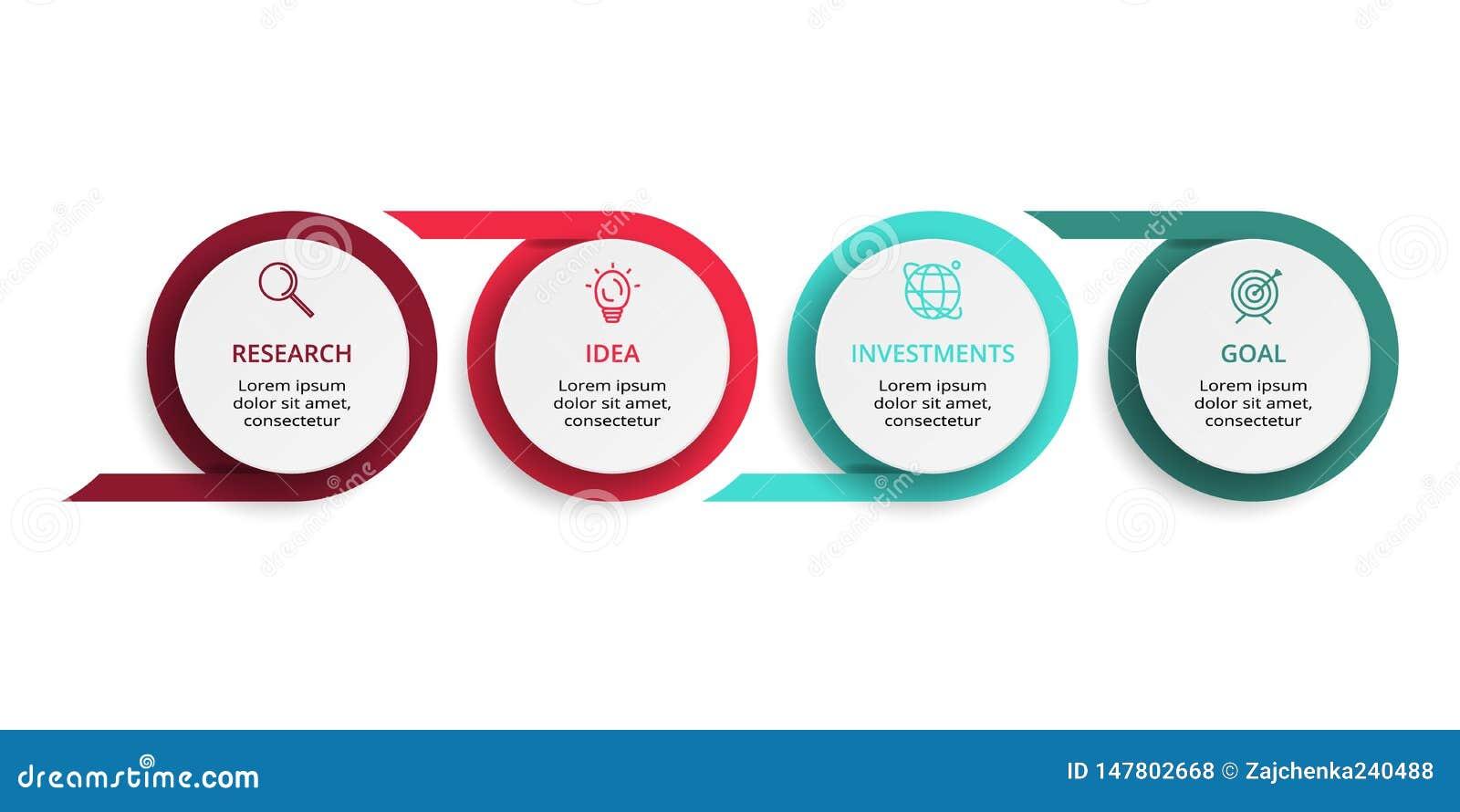Infographic设计图、图表、介绍和圆的图的传染媒介和营销象 与4个选择的概念
