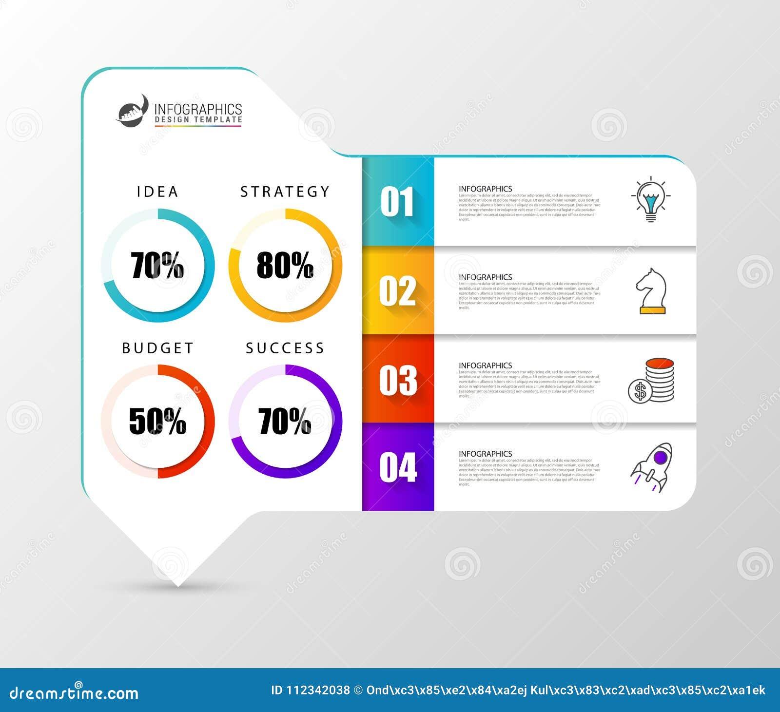 Infographic设计模板 与4步的组织系统图
