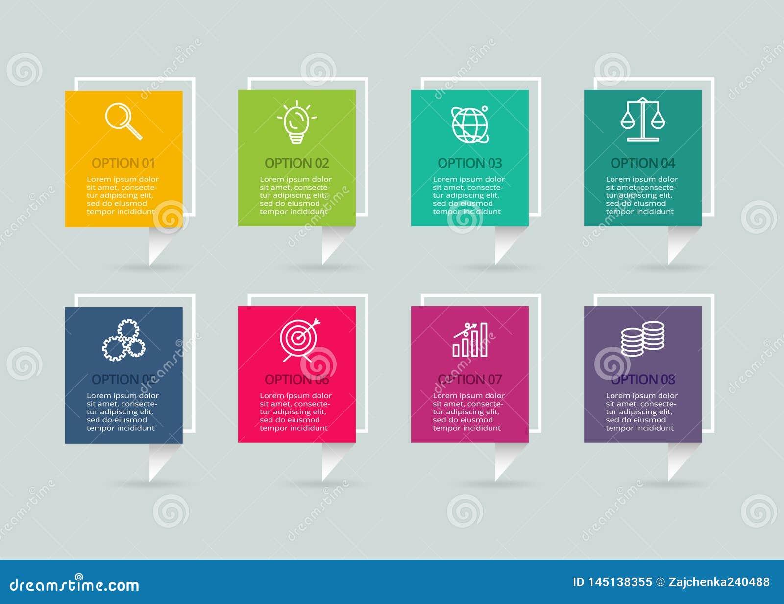 Διανυσματικό infographic πρότυπο με την τρισδιάστατη ετικέτα εγγράφου Επιχειρησιακή έννοια με 4 επιλογές Για το διάγραμμα, βήματα