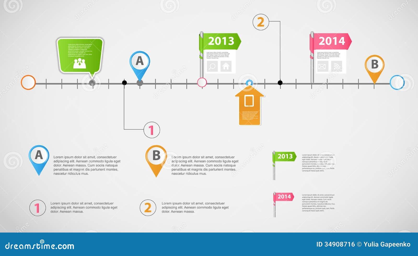 Infographic διάνυσμα επιχειρησιακών προτύπων υπόδειξης ως προς το χρόνο
