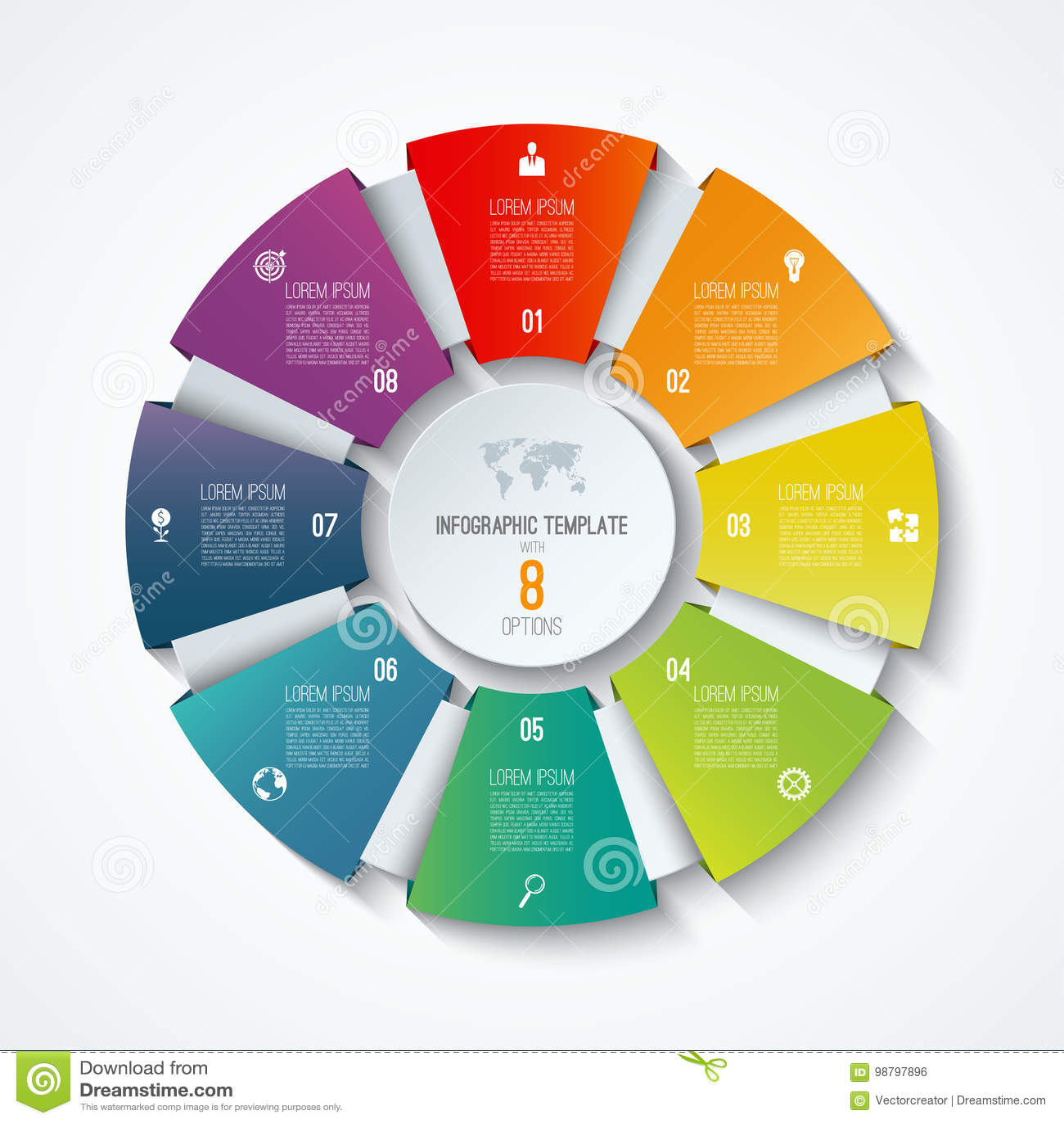 Infographic πρότυπο κύκλων Ρόδα διαδικασίας Διανυσματικό διάγραμμα πιτών Επιχειρησιακή έννοια με 8 επιλογές