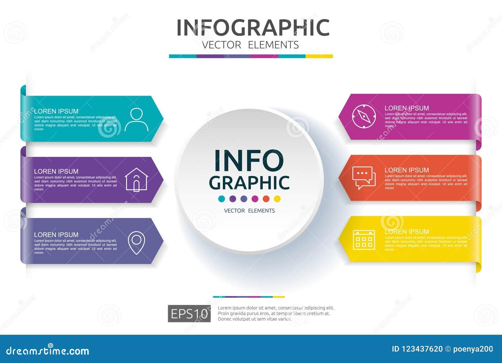 Infographic 6的步 时间安排与3D纸标签的设计模板 与选择的企业概念 对内容,图,流程图,