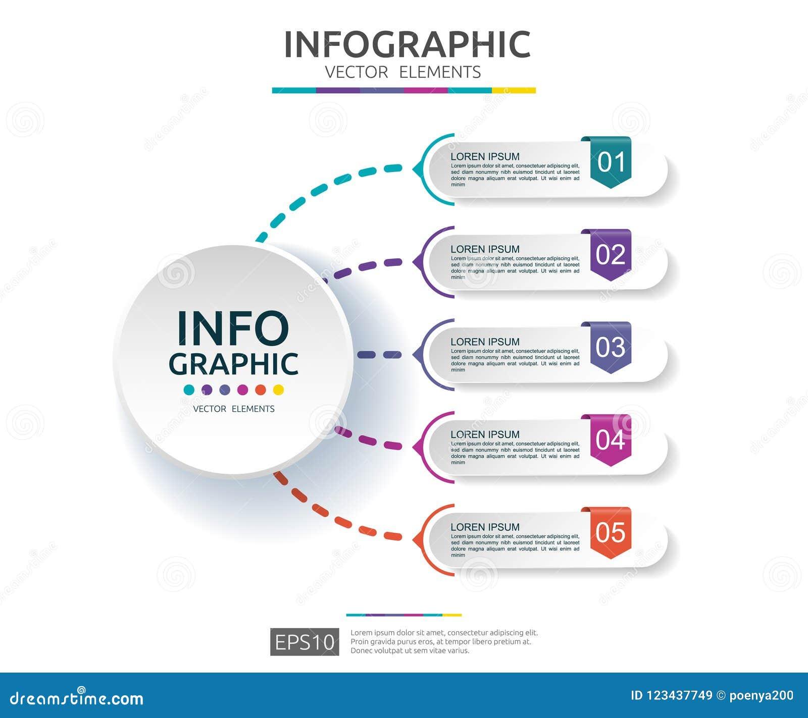Infographic 5的步 时间安排与3D纸标签的设计模板 与选择的企业概念 对内容,图,流程图,