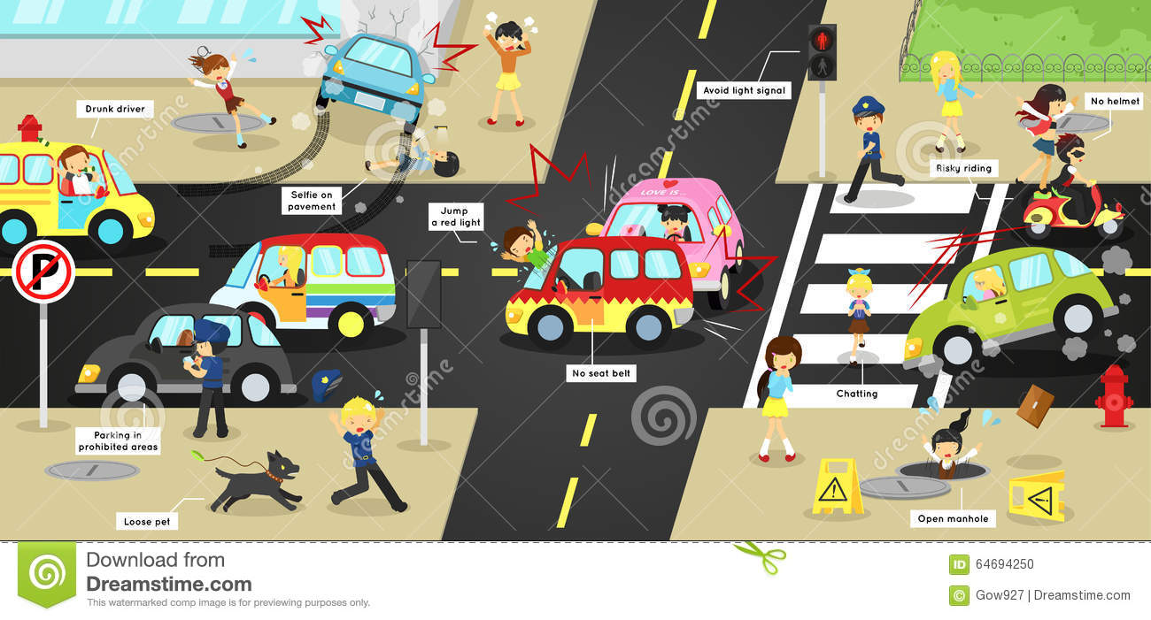 Infographic accidents, injuries, danger and safety caution