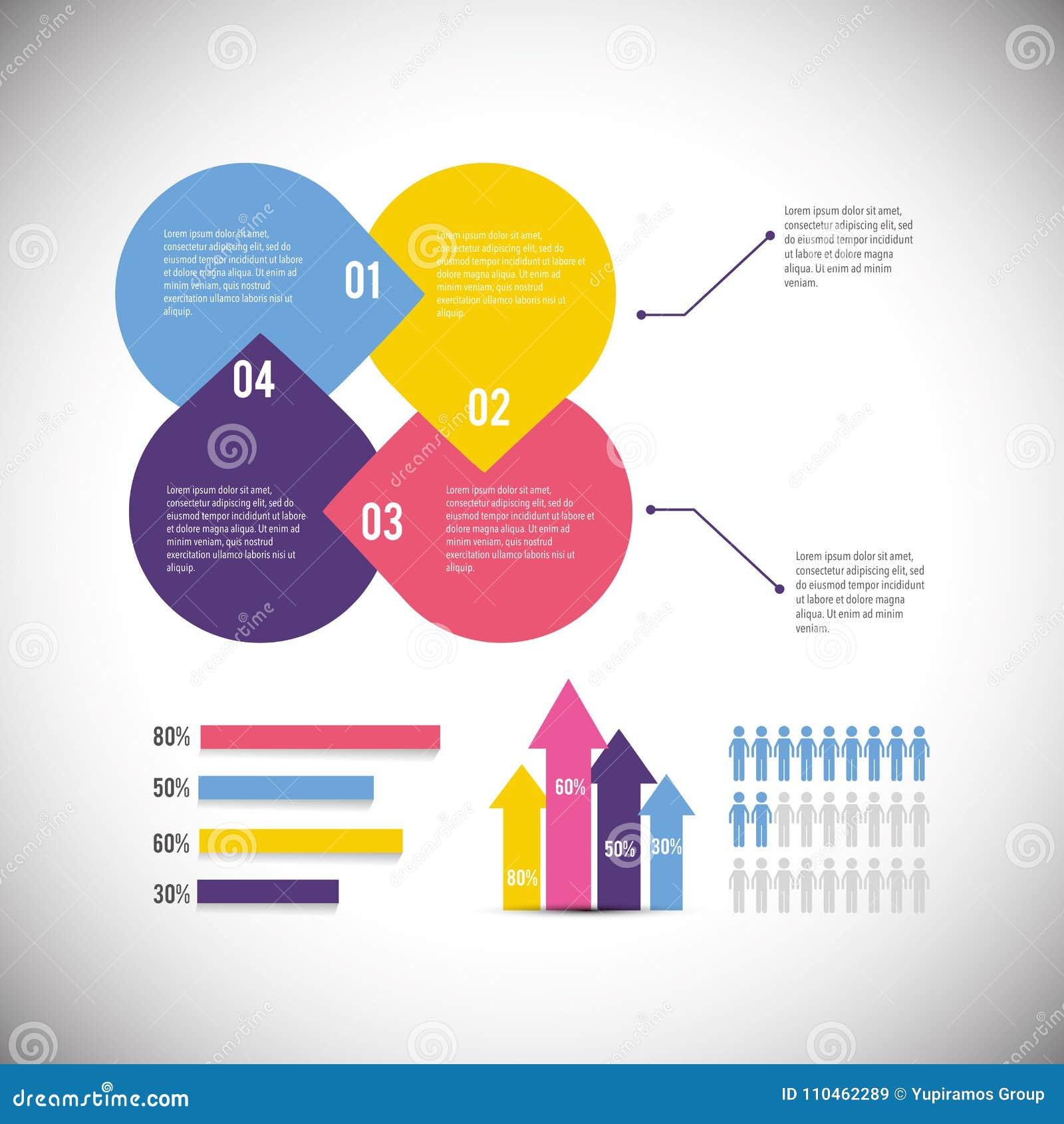 Infographic affärsdiagram med information om data