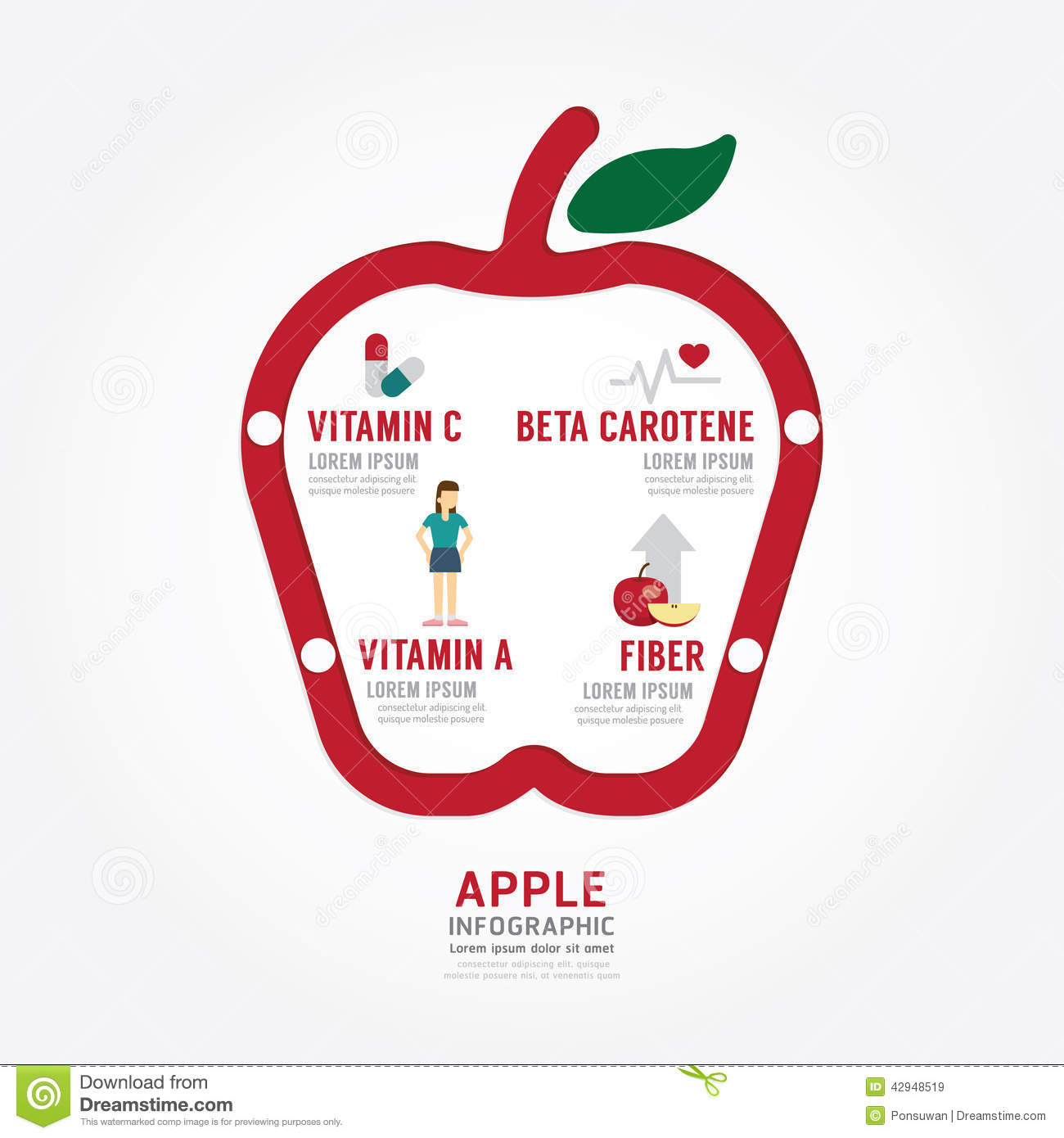 Infographic Apple Health Concept Template Design Stock