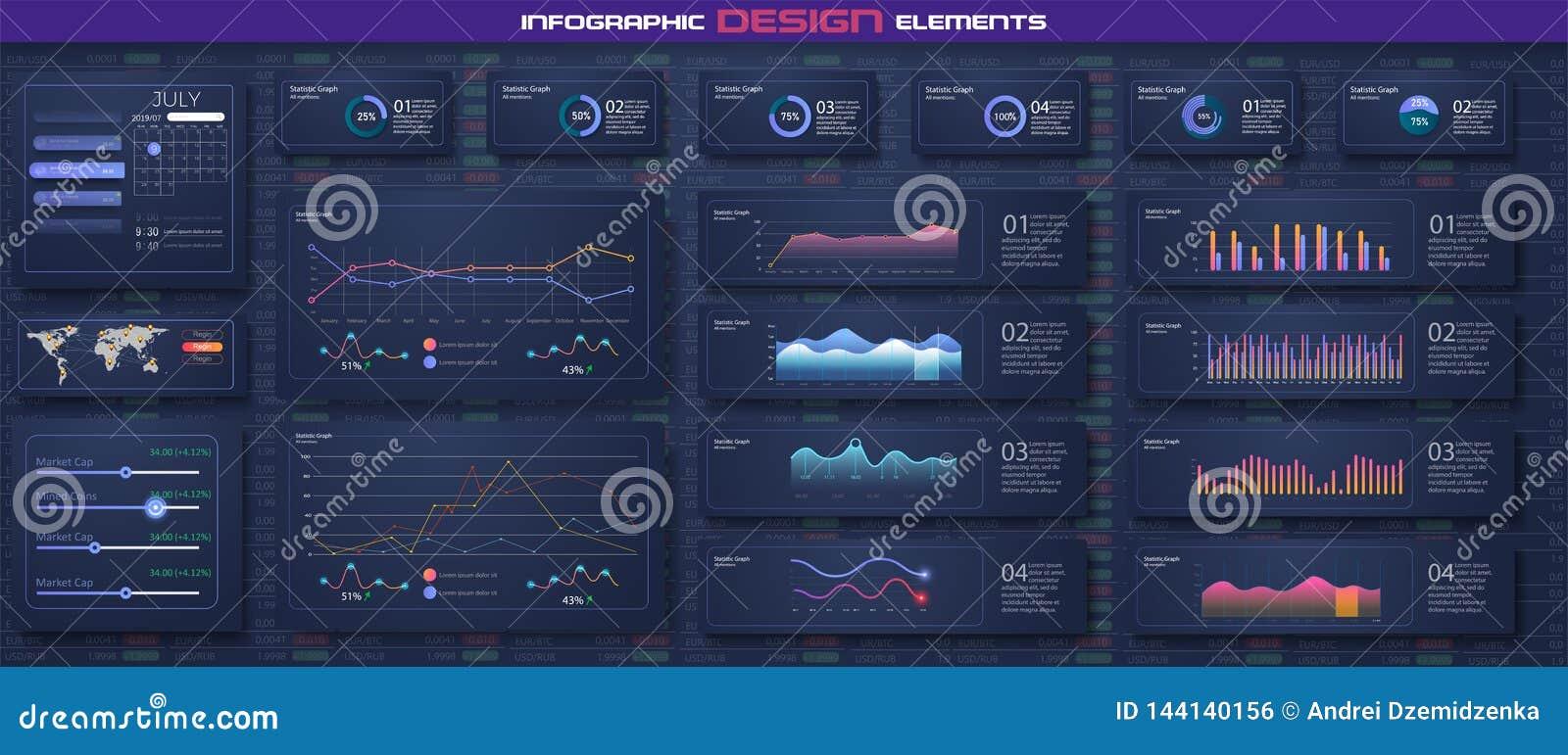 Infographic-Armaturenbrettschablone mit flachem Entwurfsdiagramme und Kreisdiagrammon-line-Statistiken und -daten Analytics Diese