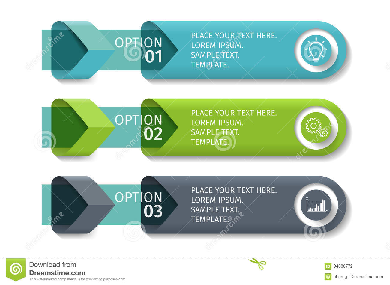 Infographic arrows with 3 step up options and glass elements. Vector  template in flat design