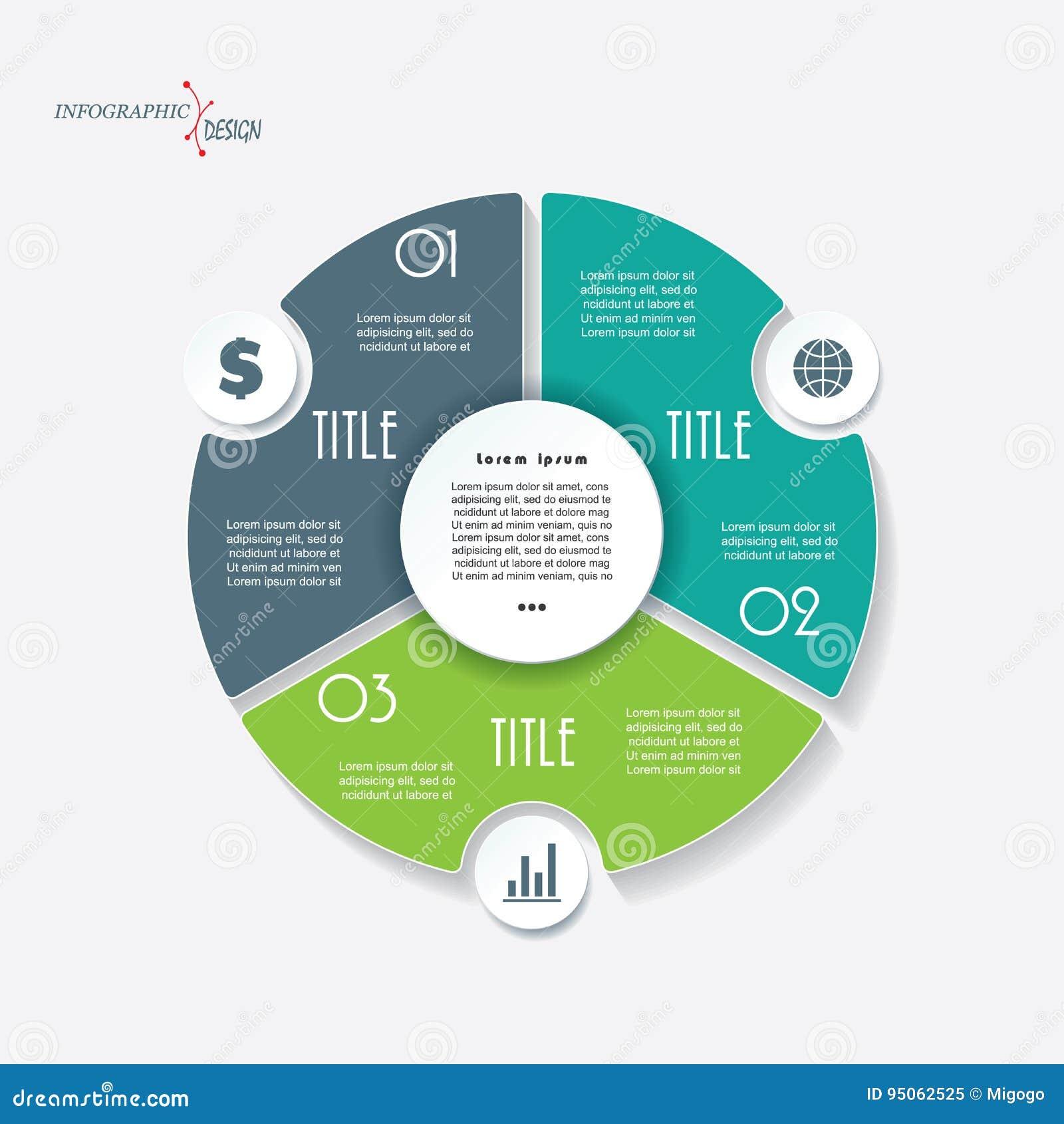 Infographic bedrijfsmalplaatje met 3 segmenten en cirkel