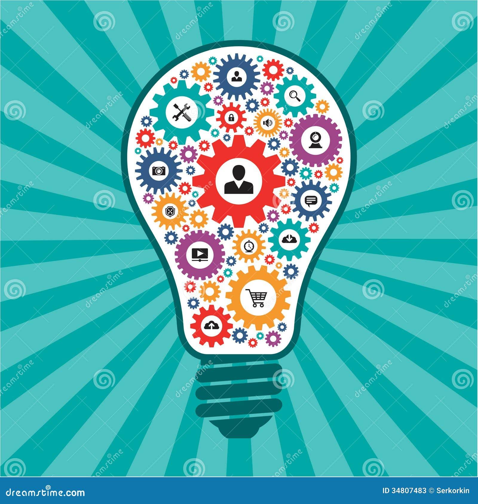 Infographic begrepp - idérik idévektorlampa - SEO-symboler i formen av ljusa kulor