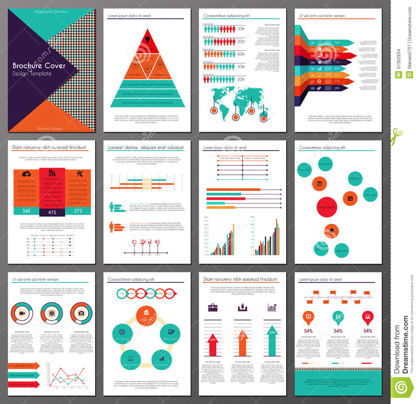 pages template brochure - infographic brochure and flyer design templates set stock