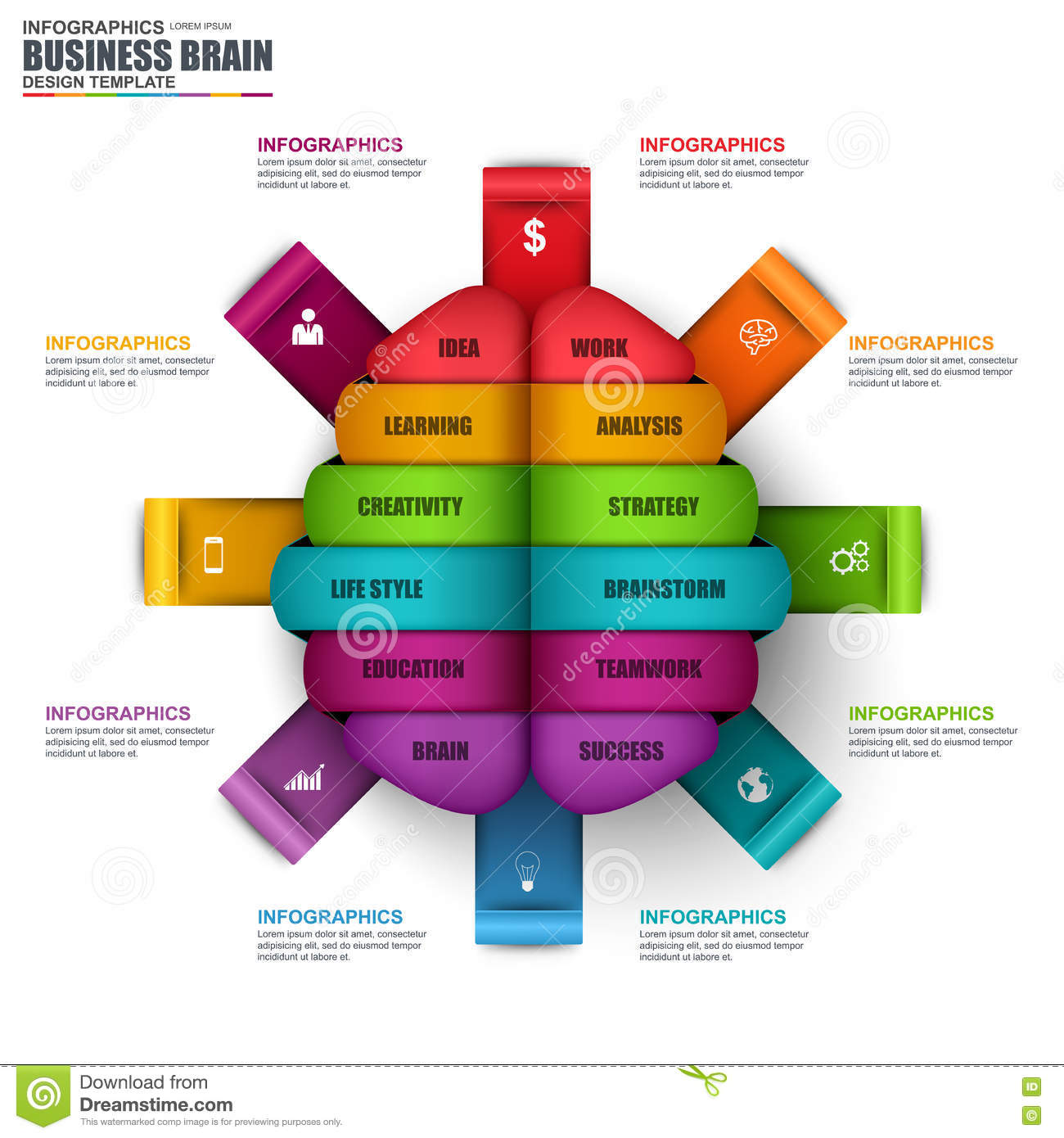 infographic business brain vector design template stock