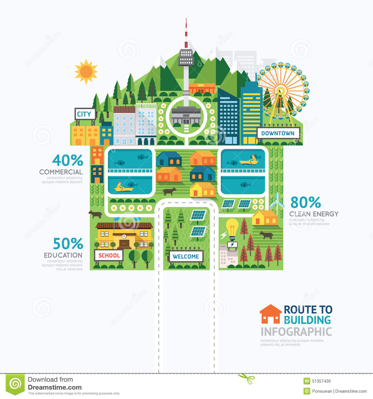 Infographic Business Building House Shape Template Design