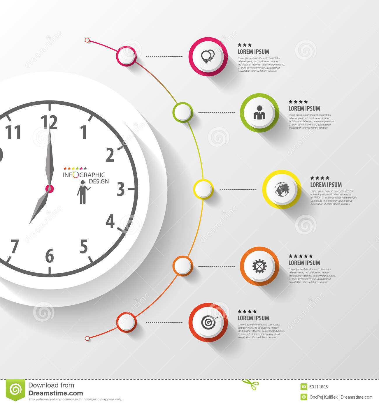 infographic  business clock  colorful circle with icons