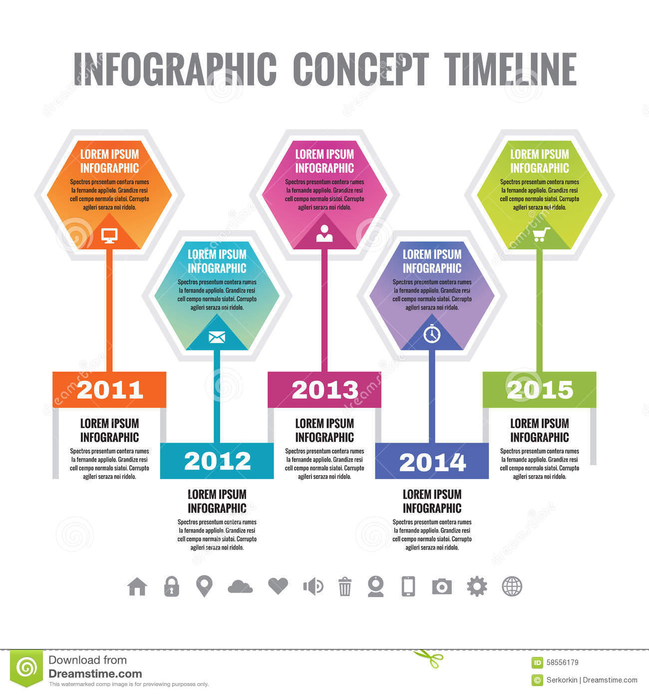 infographic business concept in flat design style timeline vector template