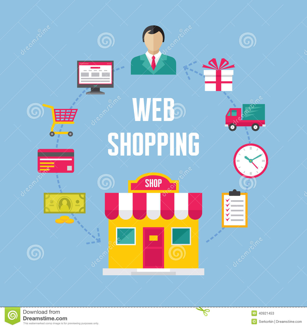 Infographic business concept web online shopping cartoon for Website design for online shopping