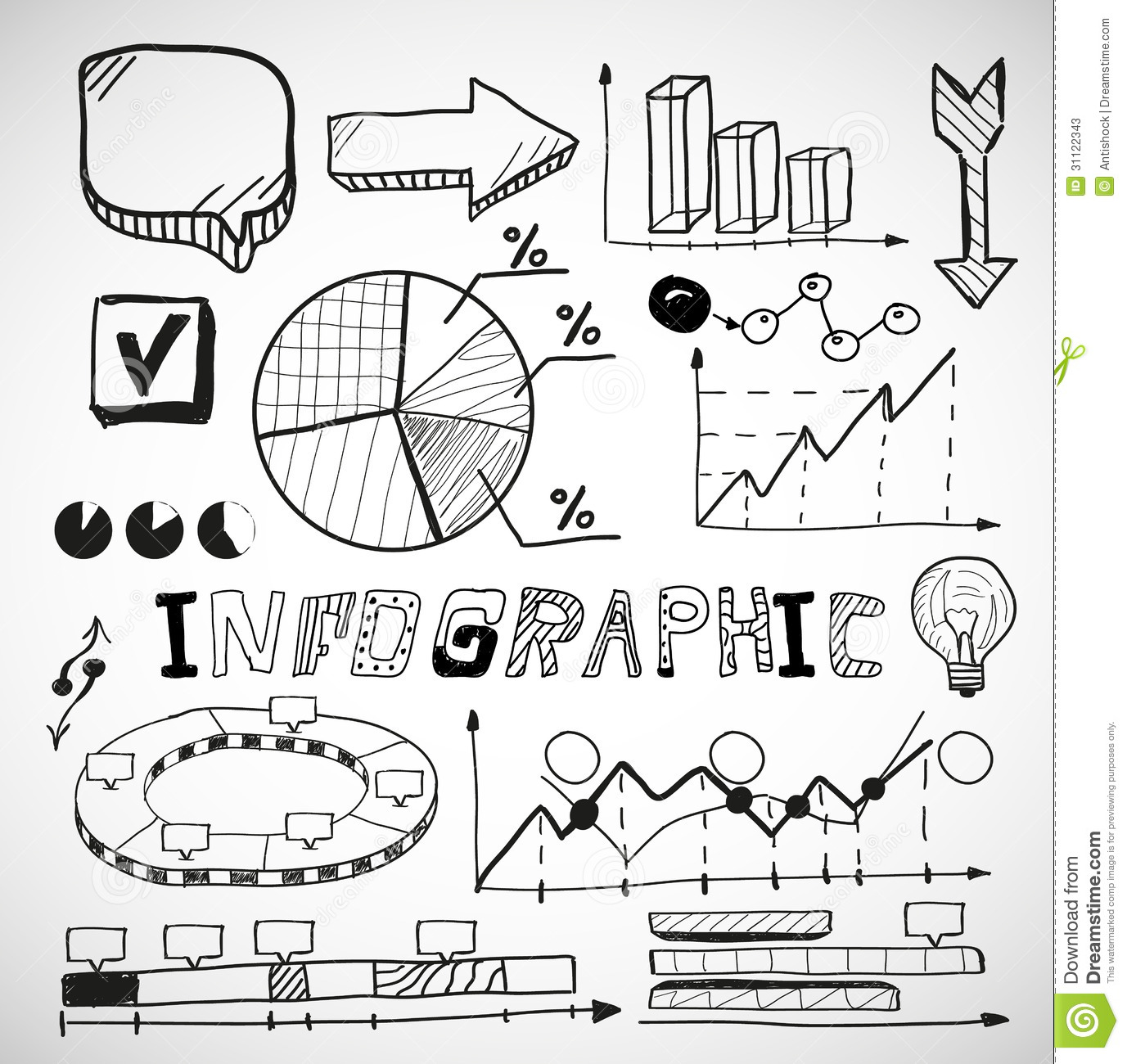 infographic business graphs doodles stock photos