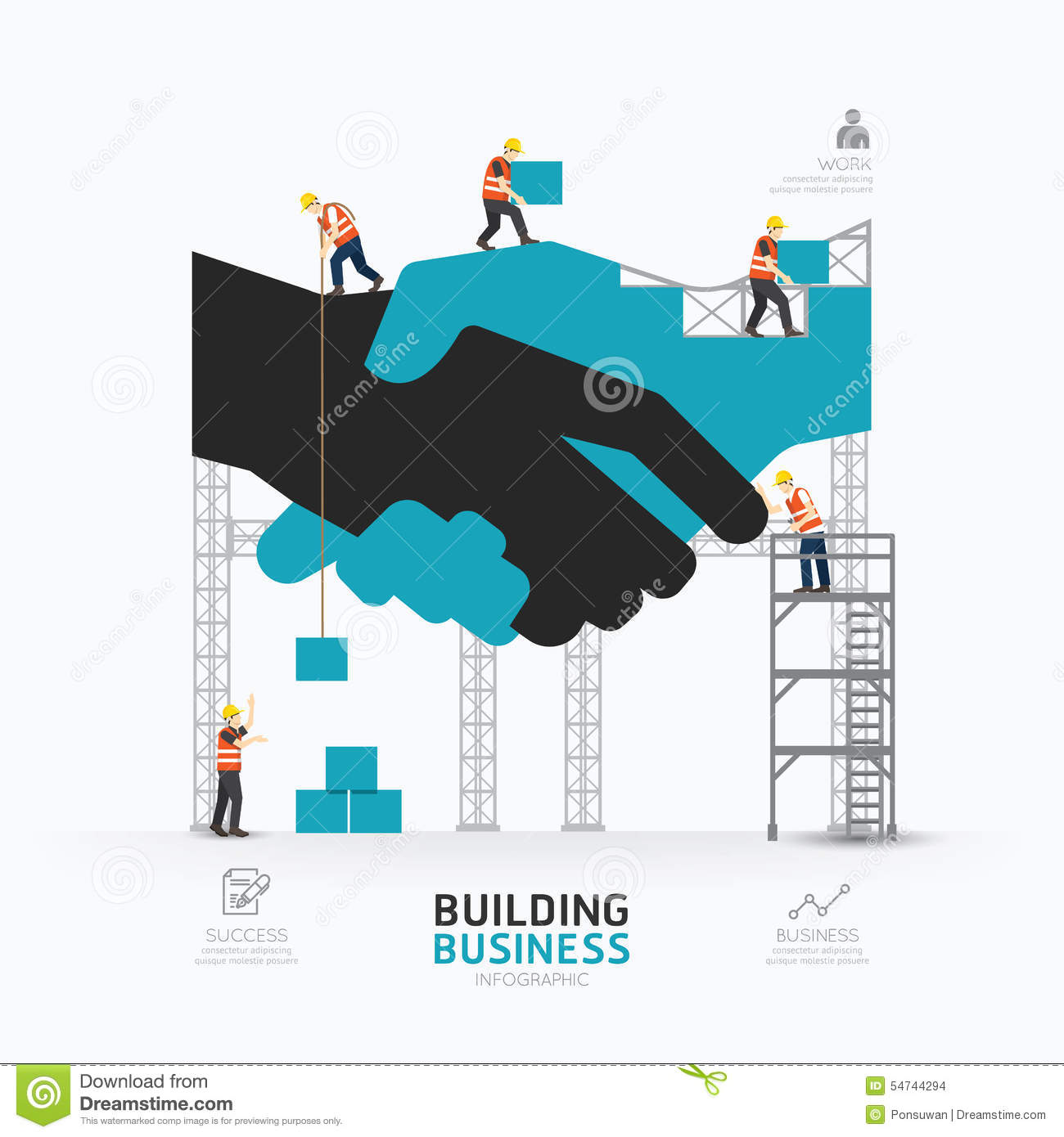 Infographic business handshake shape template design for Design build construction