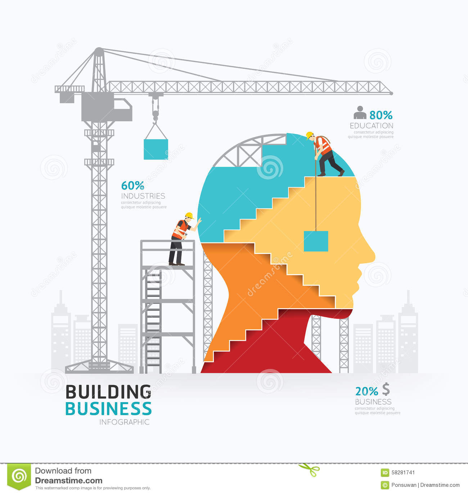 Vector Illustration Web Designs: Infographic Business Head Shape Template Design.building