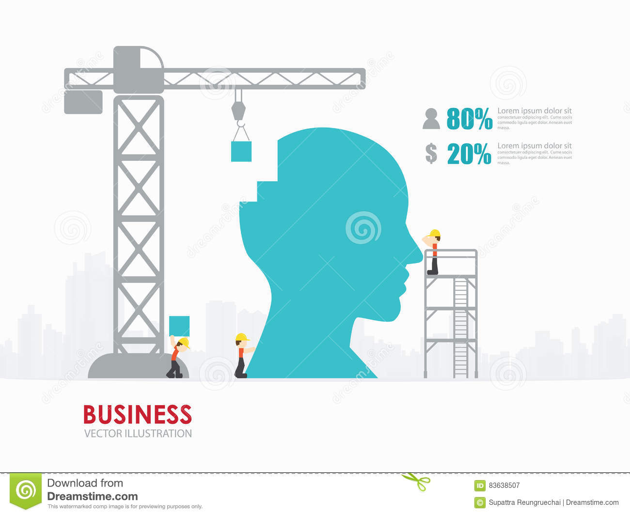 infographic business head shape template design building to success concept vector illustration graphic web design layout 83638507 infographic business head shape template design building to success