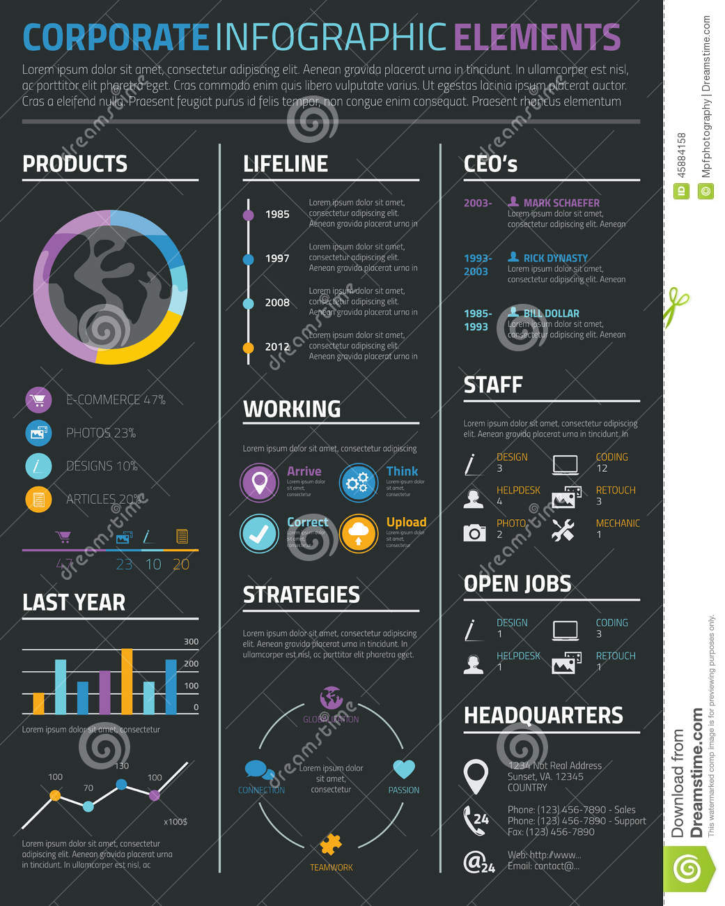 infographic business and personal resume cv on black