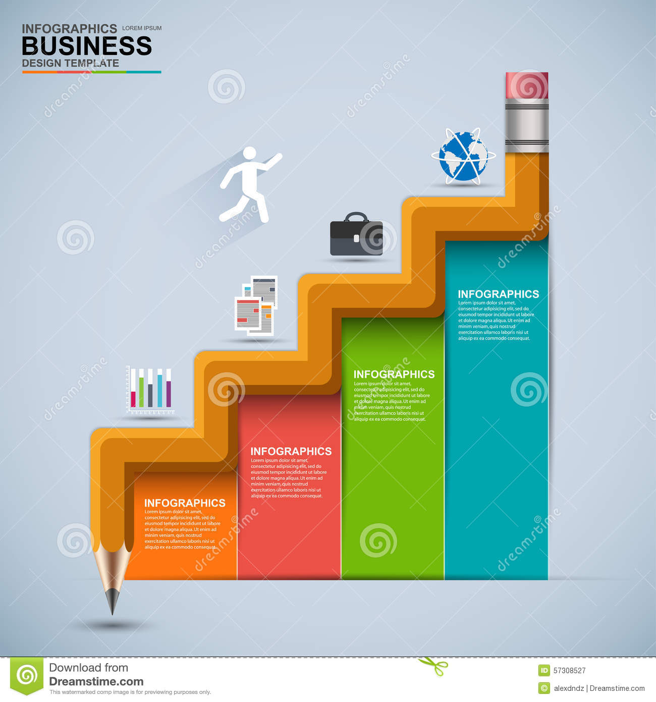 infographic business staircase education vector design template