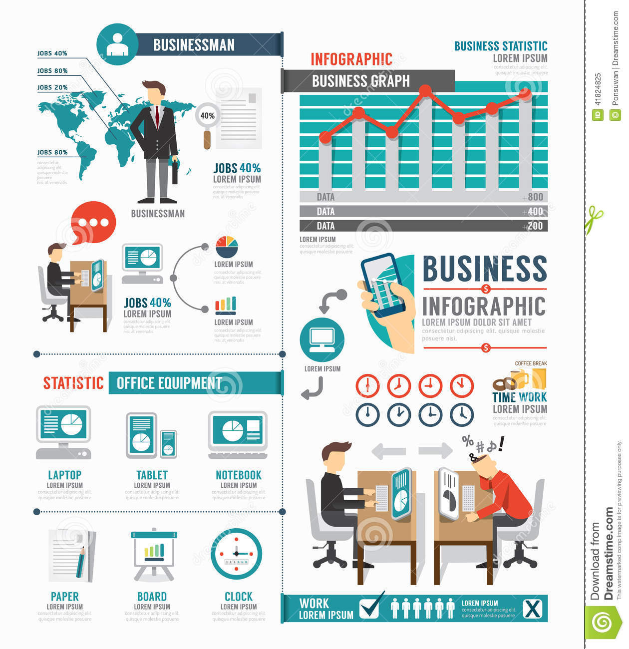 infographic business world job template design concept