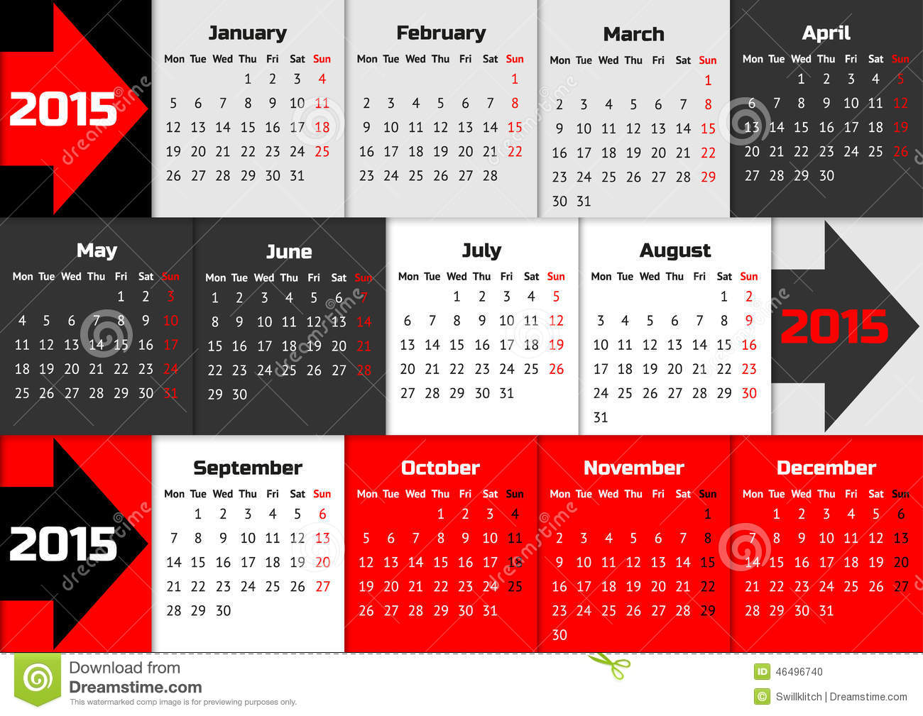 color coded calendar template - infographic calendar 2015 with arrows stock vector image
