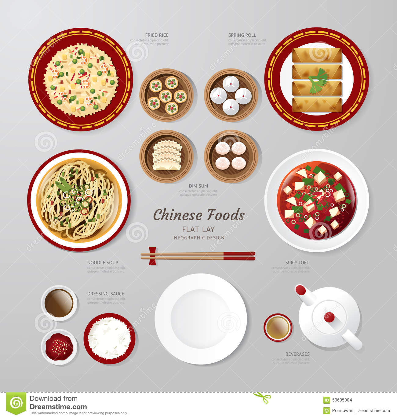 Infographic China foods business flat lay idea. Vector illustrat