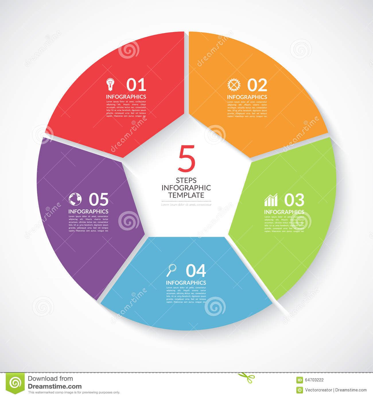Infographic Circle Banner. Vector Template With 5 Steps ...