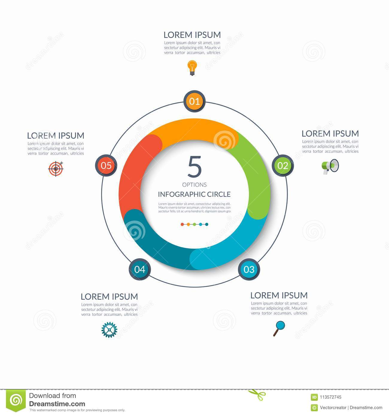 Infographic circle 5 options steps parts business concept for infographic circle 5 options steps parts business concept for diagram graph chart vector template maxwellsz