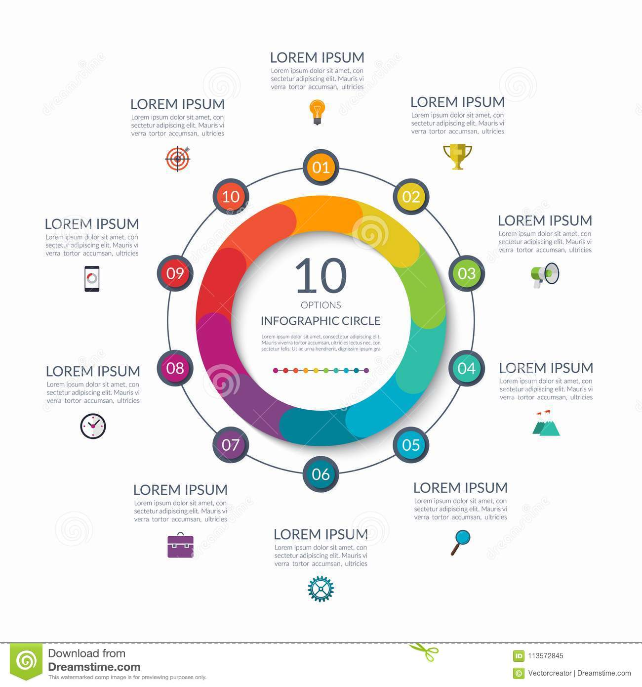 Infographic circle 10 options steps parts business concept for infographic circle 10 options steps parts business concept for diagram graph chart vector template maxwellsz