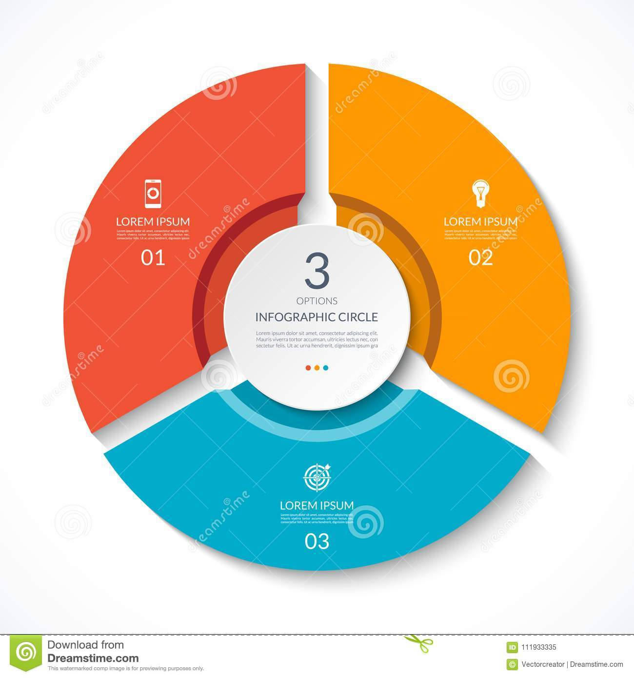 Infographic Circle. Process Chart. Vector Diagram With 3 Options ...
