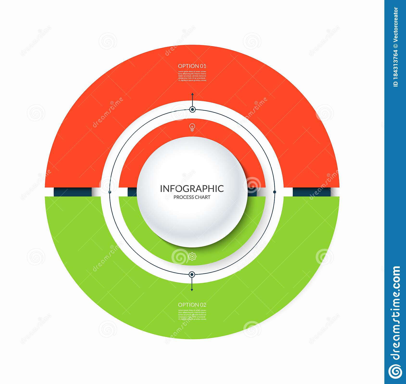 Infographic Circular Chart Divided Into 2 Parts Step By Step Cycle Diagram With Two Options Stock Vector Illustration Of Option Data 184313764