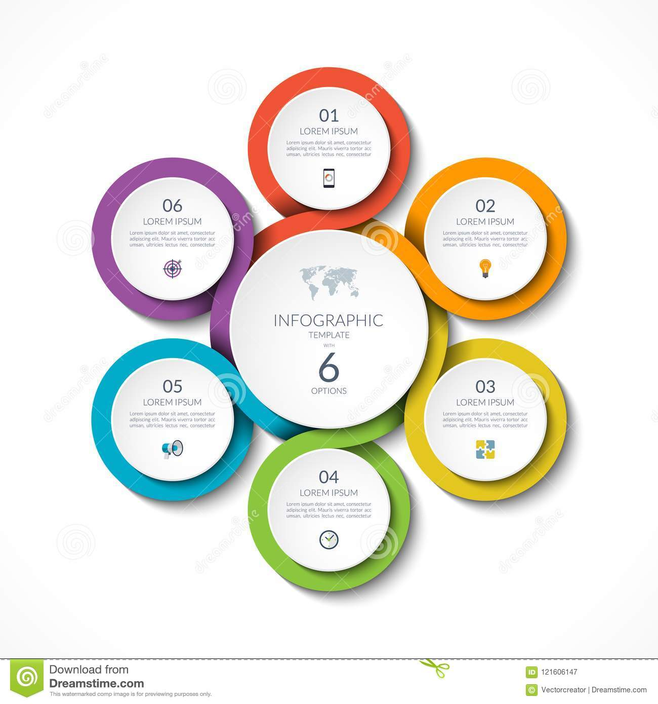 infographic circular template with 6 options vector illustration
