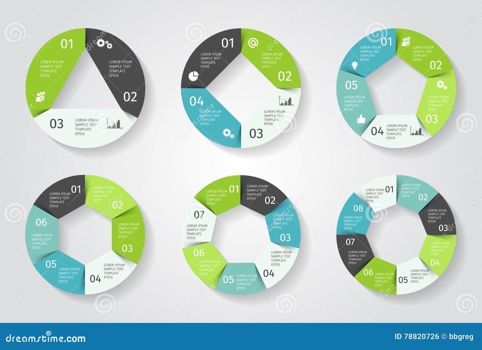 Infographic cirkelpilar Vektormall i pappers- stil