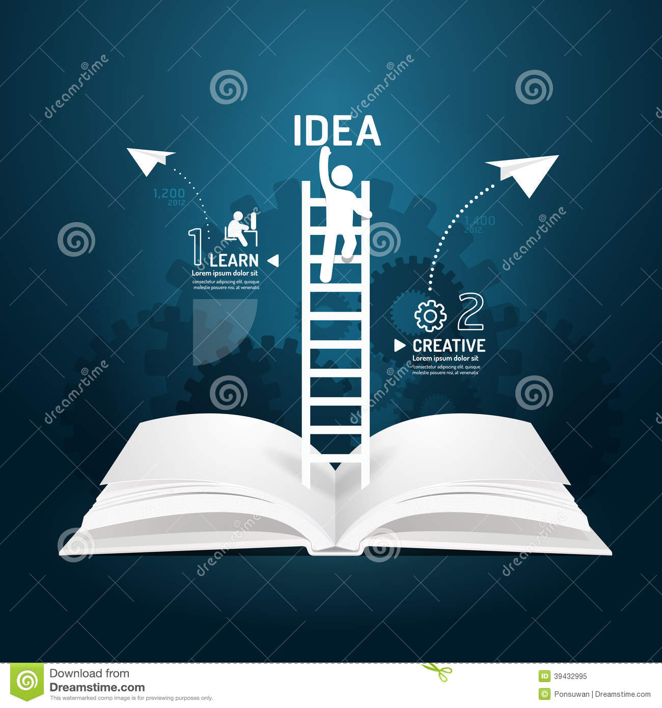 Infographic Climbing Ladder Book Diagram Creative Paper Cut Style Template Concept Vector Illustration on Ladder Diagram