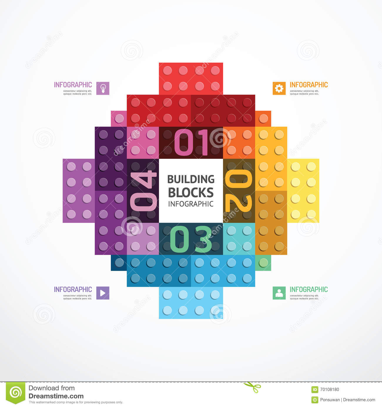 infographic color building blocks banner template concept vecto