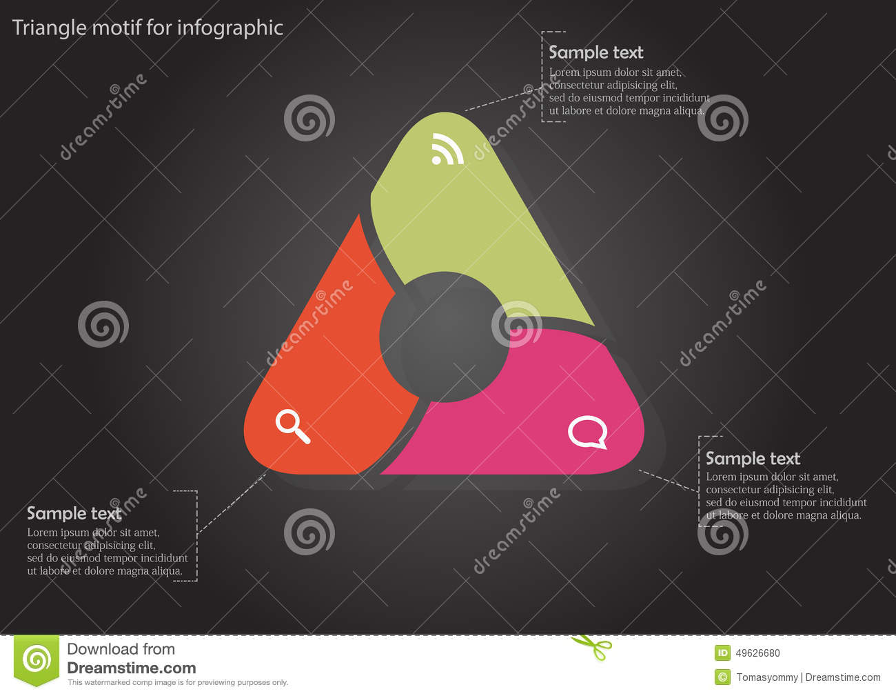 Infographic with color triangle with circle inside stock vector infographic with color triangle with circle inside buycottarizona Image collections