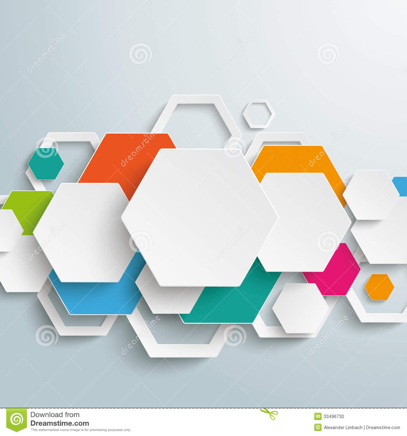 Infographic design on the grey background eps 10 vector file - Infographic Colored Paper Hexagons Line Piad Stock Photo