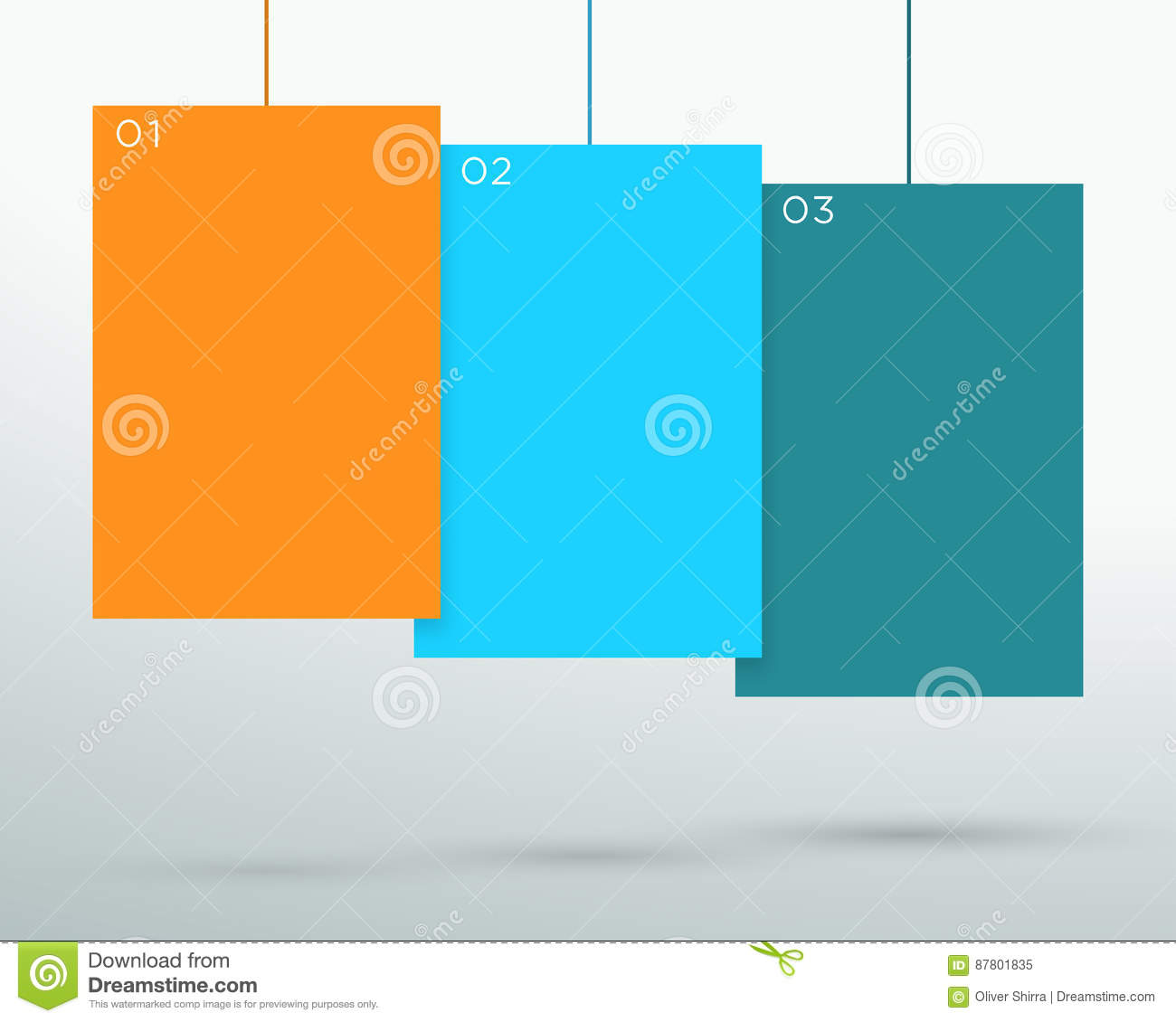 infographic 3 colourful blank hanging text boxes vector stock vector