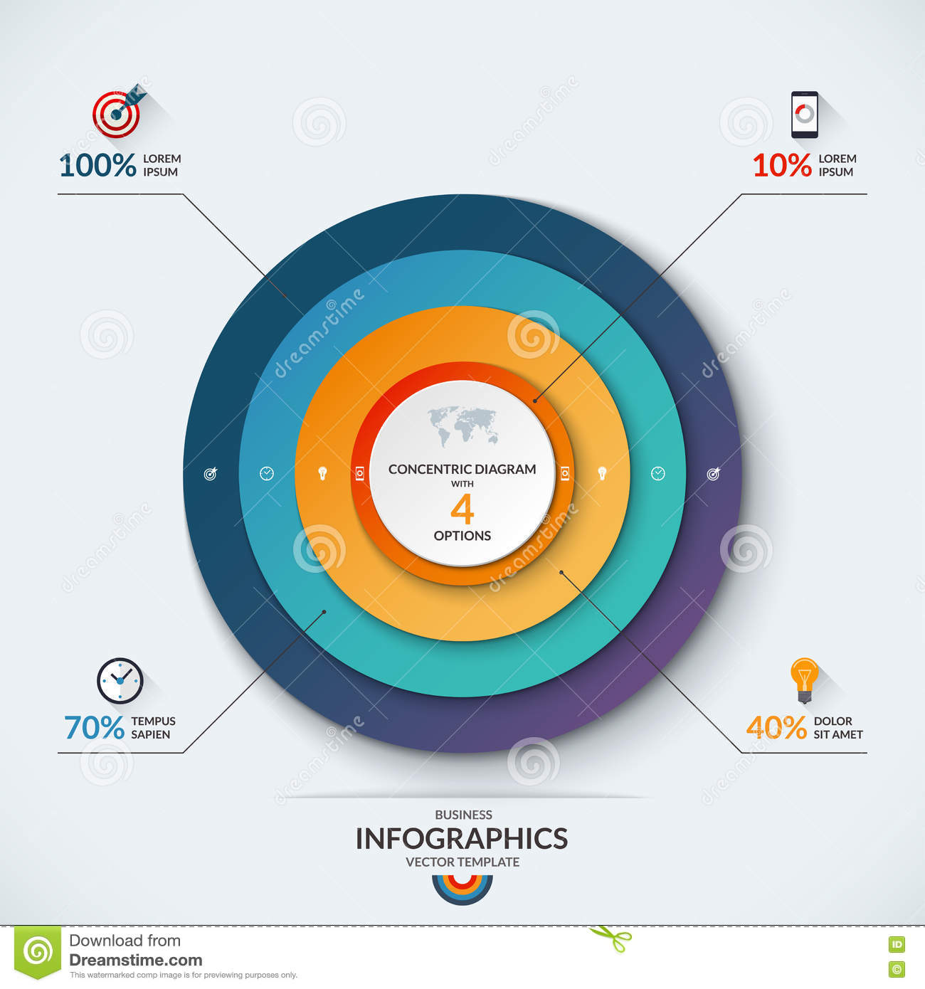 Infographic concentric diagram template with 3 options stock infographic concentric diagram template with 4 options stock photography pooptronica Choice Image