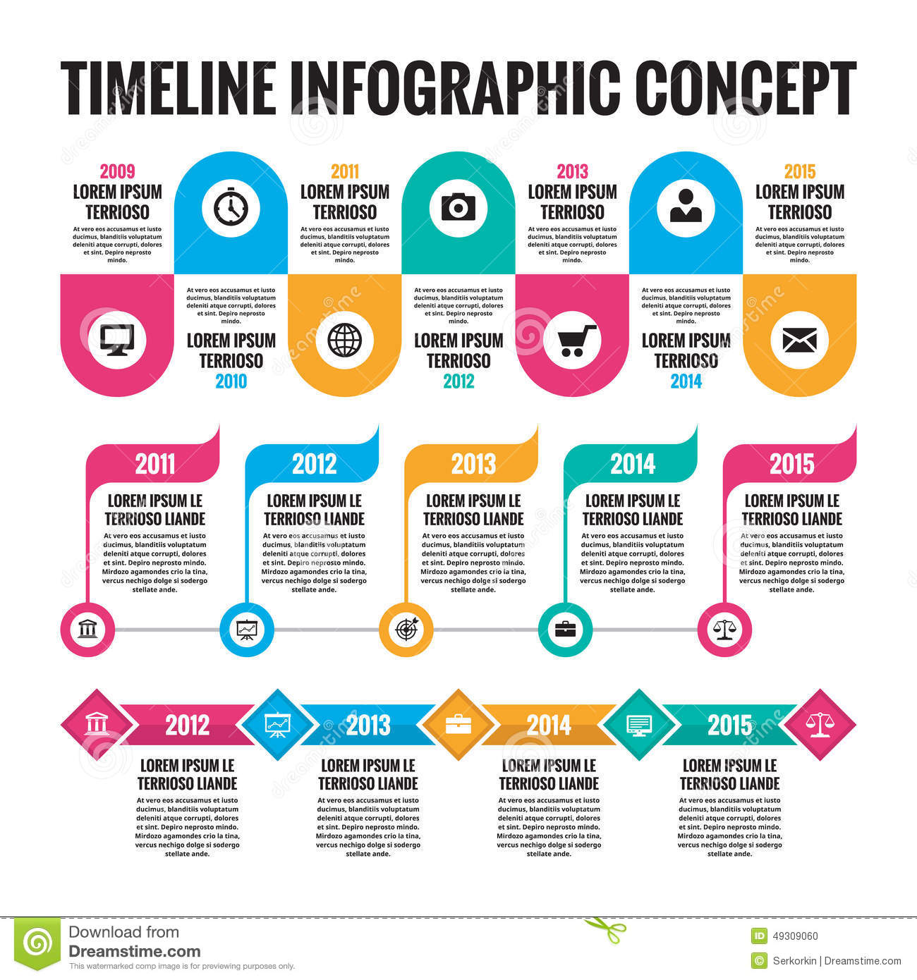 Infographic concept in flat design style timeline for Del website