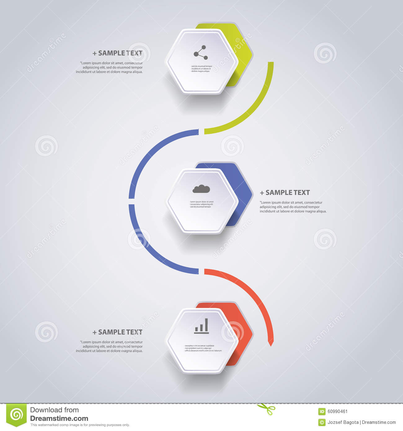 Infographic Concept - Flow Chart Design - Timeline With Hexagons Stock ...