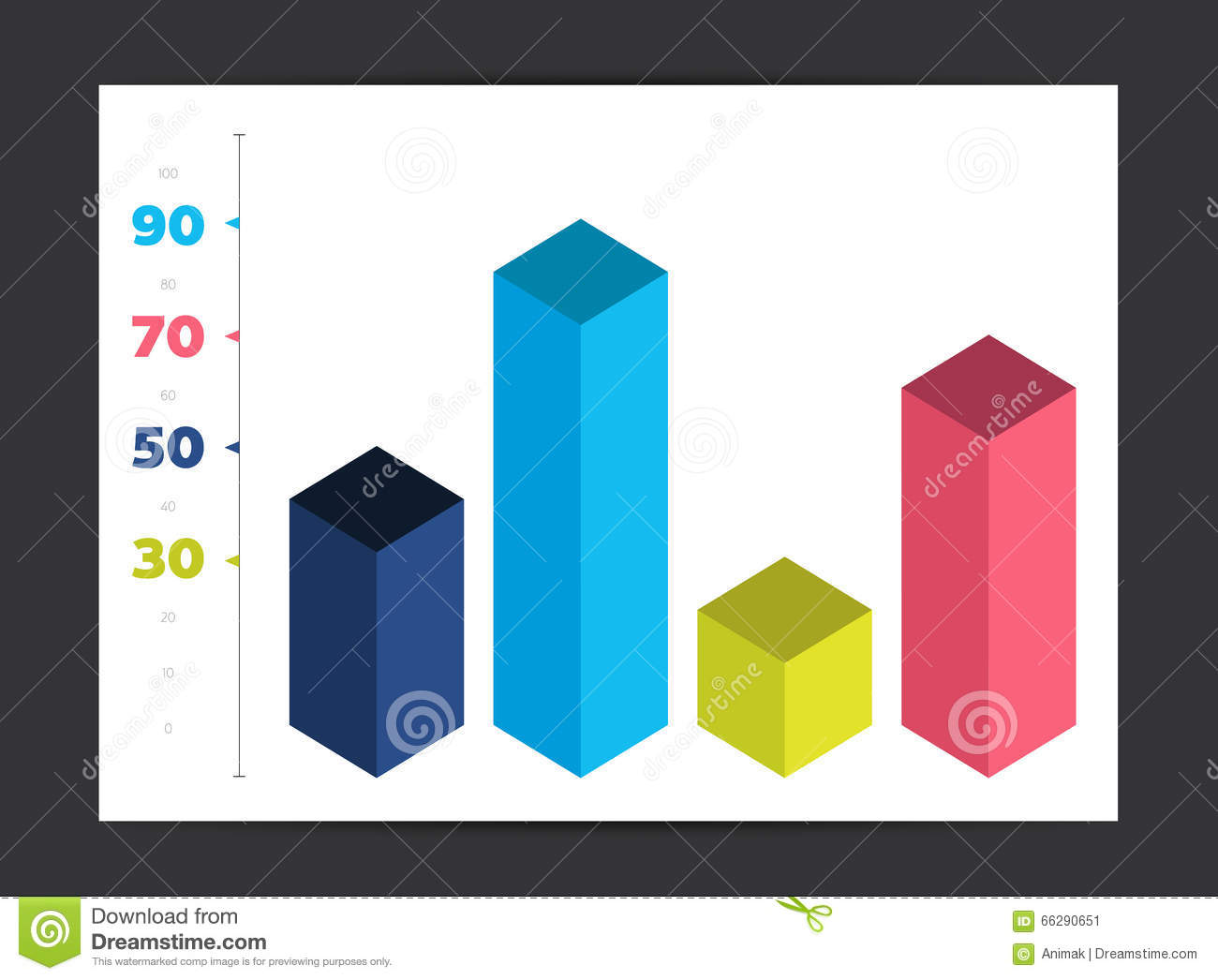 Infographic 3d Cube Diagram Chart Graph Stock Vector Template