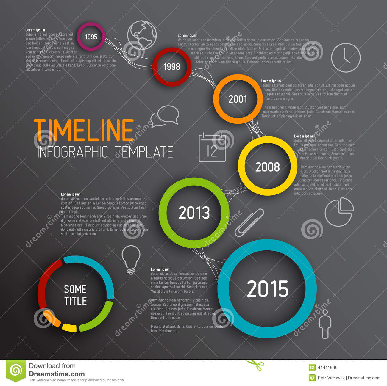 infographic dark timeline report template with circles stock illustration